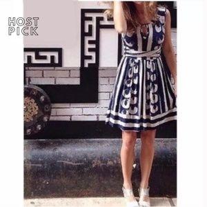 Maeve for Anthropologie Blue Ikat Dress S EUC